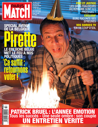 Couverture de Paris Match Belgique avec le comédien Belge François Pirette du Pirette Show sur RTL-TVI dans le rôle de son personnage Amédée