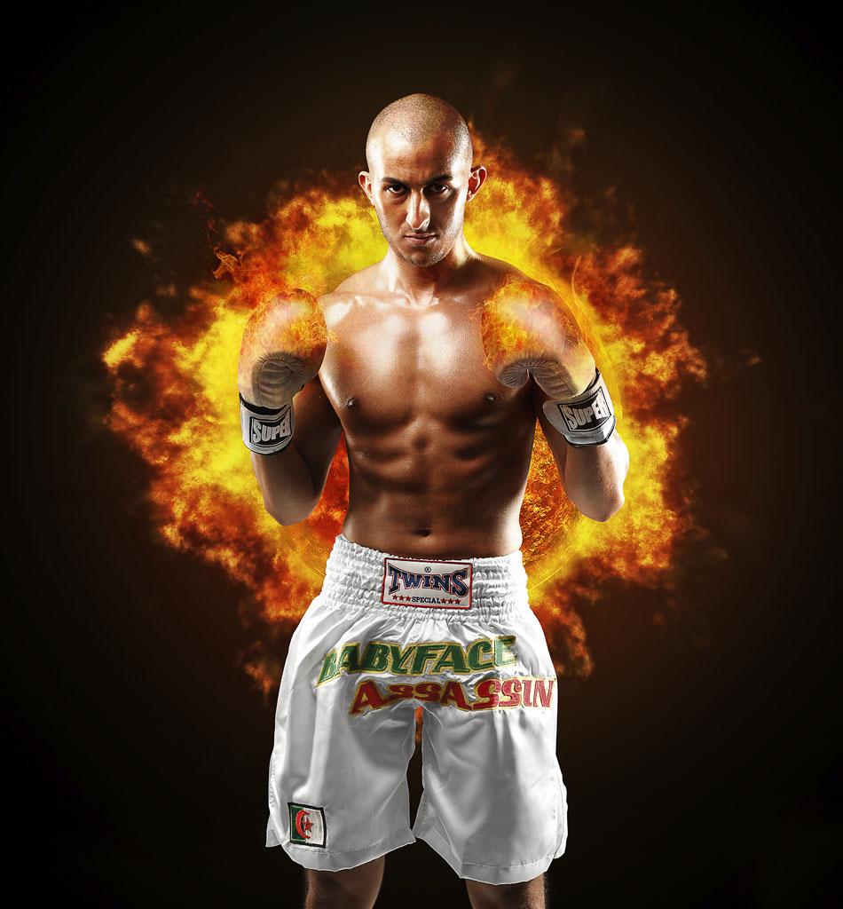 Photo d'un boxeur professionnel pour une affiche lors d'un combat de boxe.