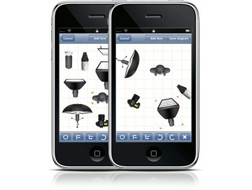 l'application Strobox sur un iPhone pour faire des schèmas d'installation d'éclairage pour les photographe