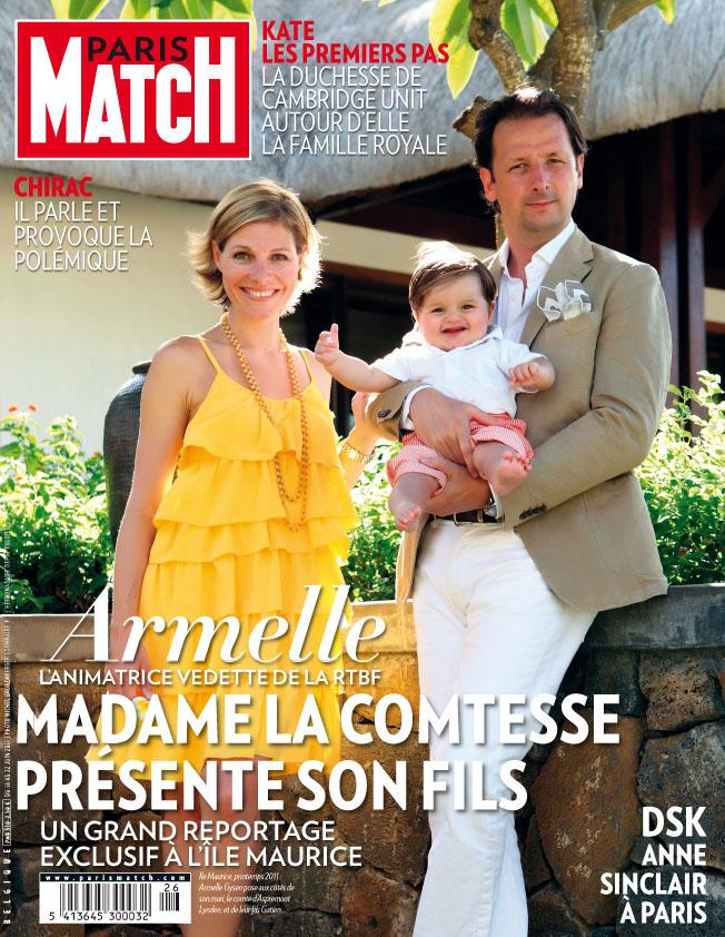 La présentatrice de la RTBF Armelle Gysen mariée au Compte Frédéric d'Aspremont Lynden pose avec leur fils Gatien à l'île Maurice, couverture de Paris MAtch Belgique.