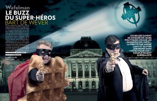 Wafelman et Suzyx les deux nouveaux personnages d'André Lamy et Olivier Leborgne de l'émission Votez Pour Moi sur Bel RTL
