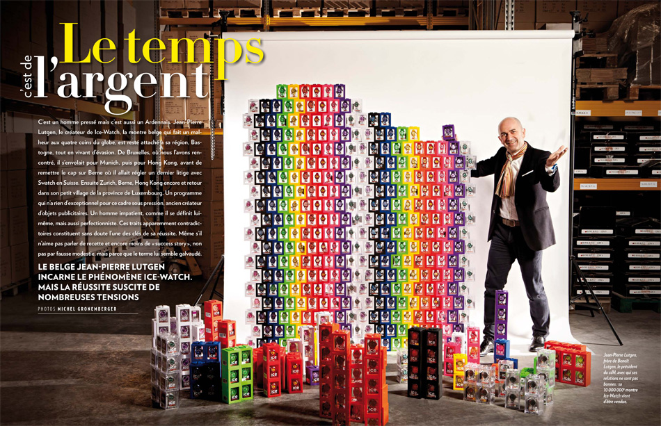 Jean Pierre Lutgen le CEO de la marque de montres belges Ice Watch, photos de l'homme d'affaires pour Paris Match Belgique par le photographe Michel Gronemberger.
