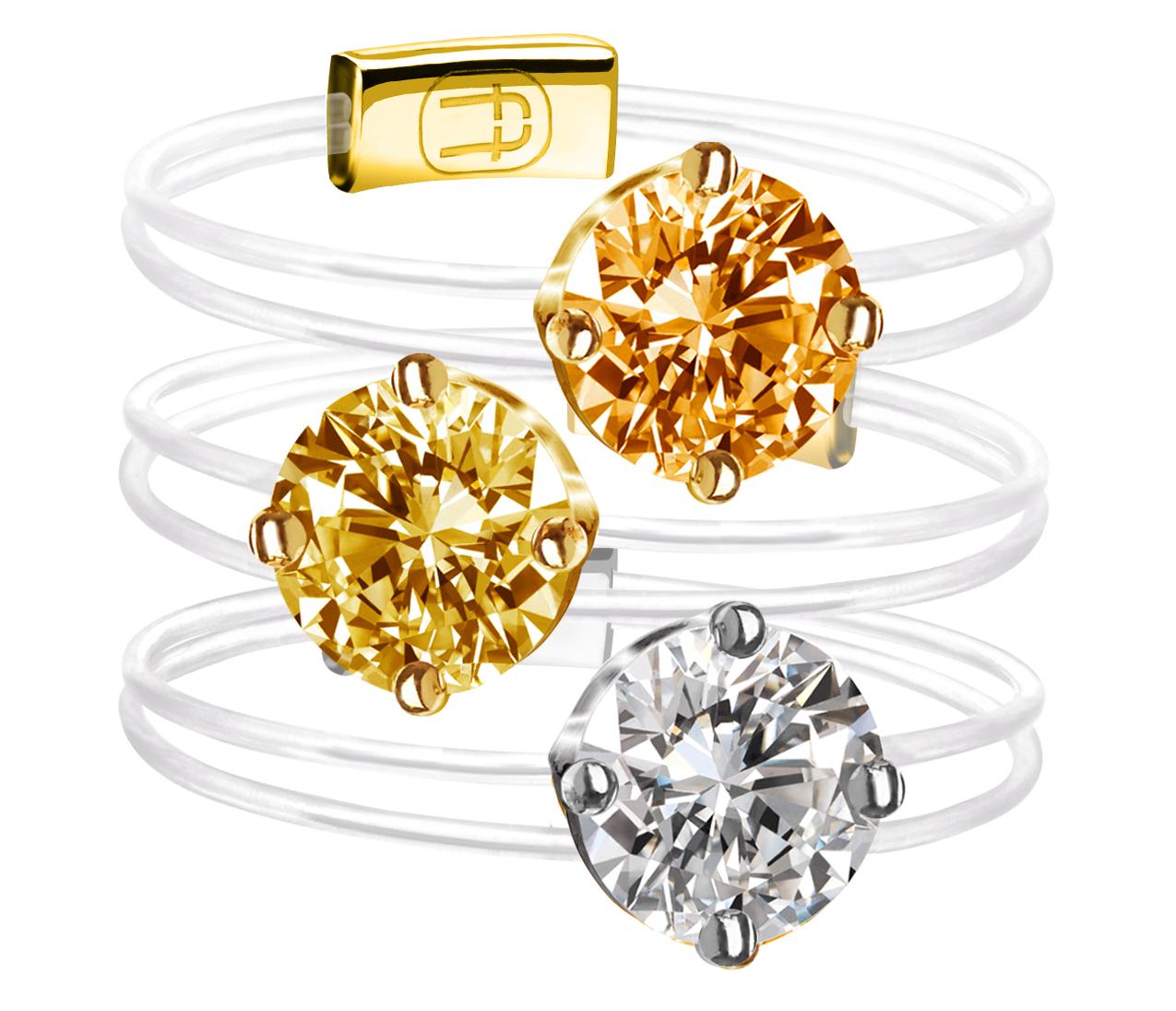 Les bijoux d'Alexander Fuchs, des diamants sur un fil fluorocarbone, le diamant autrement.