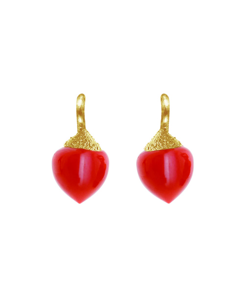 Ole_Lynggaard_Earring Small Dew Drop Filigram _dark coral