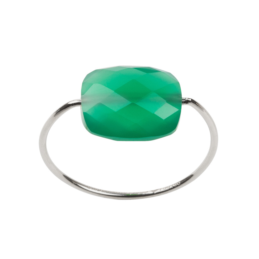 Bague-F-Or-blanc-coussin-Agate-Verte