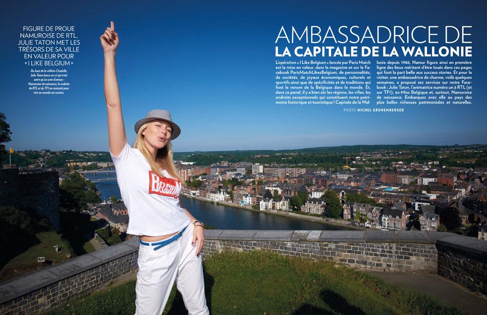 Photo de Julie Taton en haut de la Citadelle de Namur, double page de Paris Match Belgique I Like Belgium