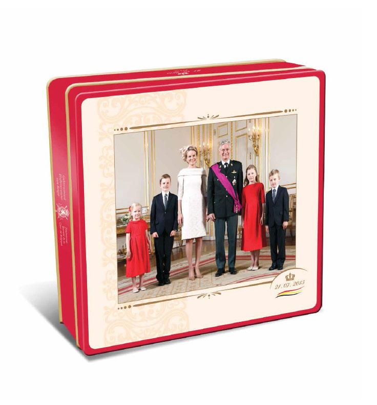 Boite de biscuits Delacre Famille Royale Belge, avec le Roi Philippe, la Reine Mathilde et leurs enfants