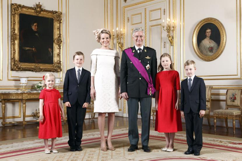 Le Roi Philippe, la Reine Mathilde et leurs enfants