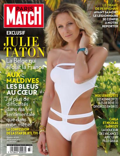Julie Taton l'animatrice à RTL-TVI et Secret Story sur NT1 aux Maldives au Kanuhura pour Paris Match Belgique.