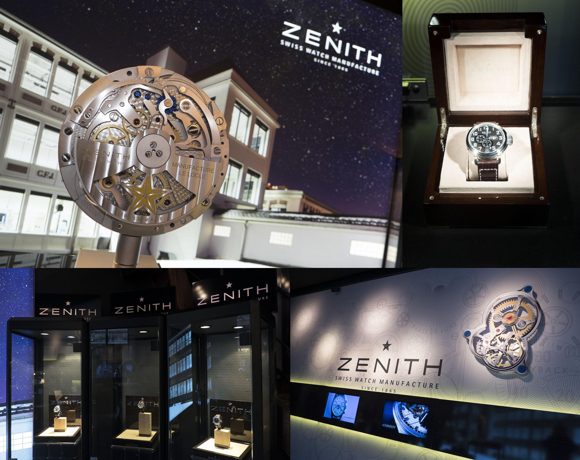 Les montres suisses Zenith avec sont fameux monvement manufacture El Primero à l'honneur à la joaillerie De Greef à Bruxelles