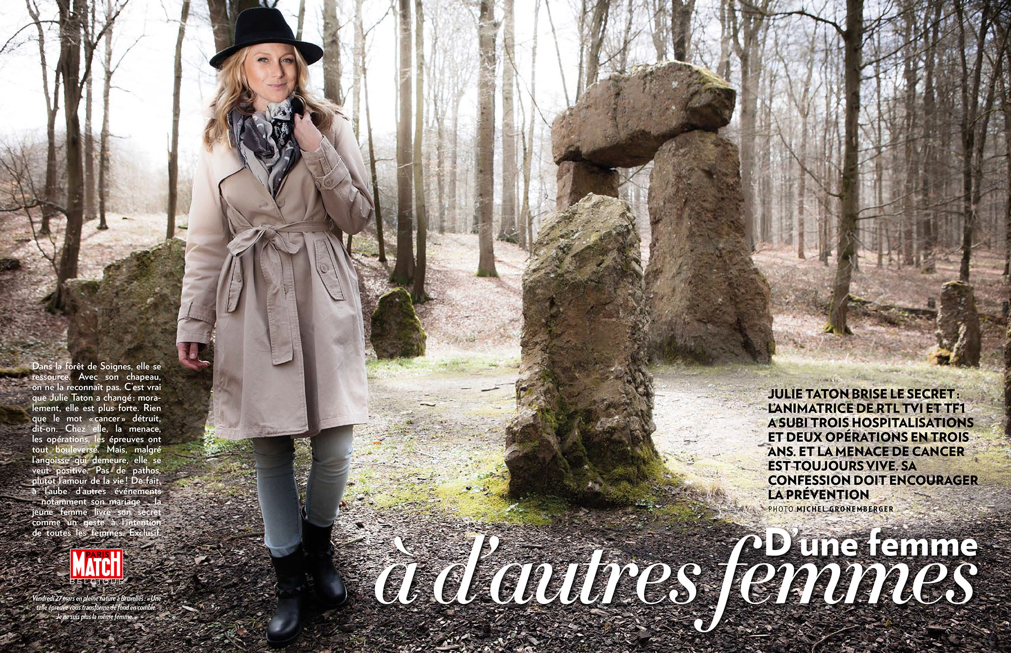 Julie Taton l'animatrice d'RTL-TVI et de TF1 Secret Story parle du cancer et de son papillomavirus dans une lettre émouvante publiée en exclusivité dans Paris Match Belgique.