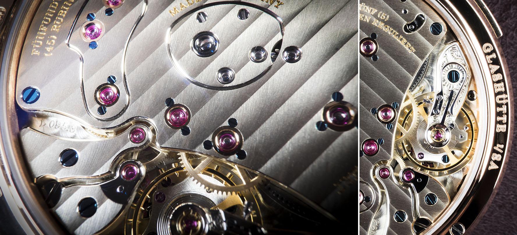 Test de macrophotographie avec un appareil photo APS-C le Fujifilm X-T1 et les deux bagues d'extenssions macro MCEX-1 et MCEX-16 sur les détails d'un cadran d'une montre de luxe Lange & Söhne.
