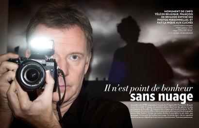 """François De Brigode journaliste à la RTBF pour son exposition de photographies """"Nuages"""" pour le magazine Paris Match Belgique"""