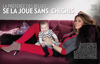 Joëlle Scoriels l'animatrice de 96 minutes Sans Chichis à la RTBF pose en famille avec son mari Vincent Venet, sa fille Estelle et son fils Sacha pour Paris Match Belgique.
