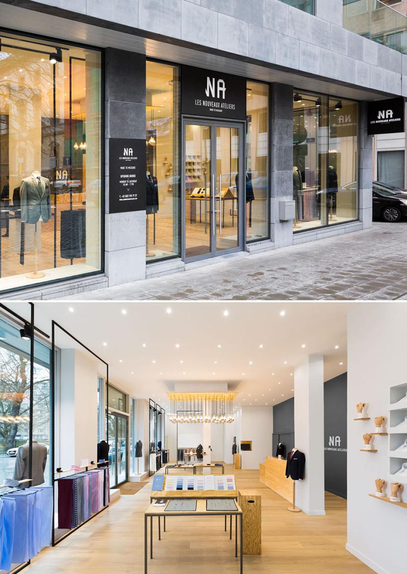 Boutique à Bruxelles Les Nouveaux Ateliers des costumes et chemises sur-mesure à prix abordable.