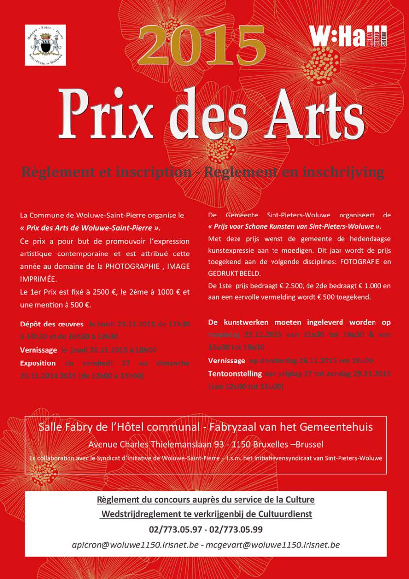 Affiche du Prix des Arts de la commune de Woluwe-Saint-Pierre 2015 et pour son concours photo