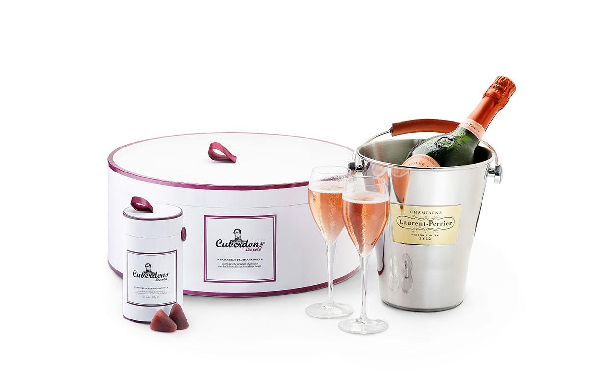 La boite à chapeau des Cuberdons Léopold et du champagne Laurent-Perrier Rosé