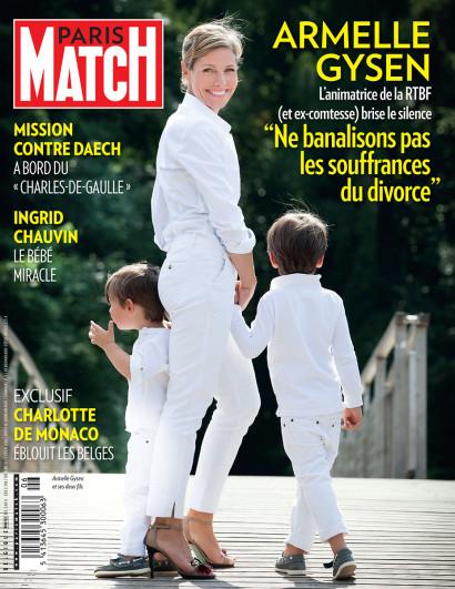 Couverture de Paris Match avec l'animatrice de la RTBF Armelle Gysen