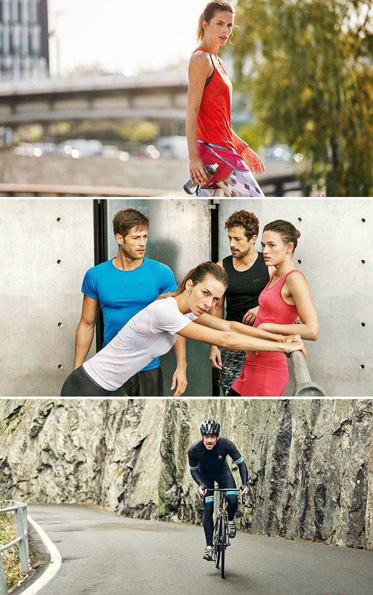Vêtements techniques pour le vélo, fitness et jogging de la marque de vêtements de sport Odlo