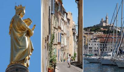 La Bonne Mère, une rue du Panier, et Notre Dame de la Garde et le Vieux Port