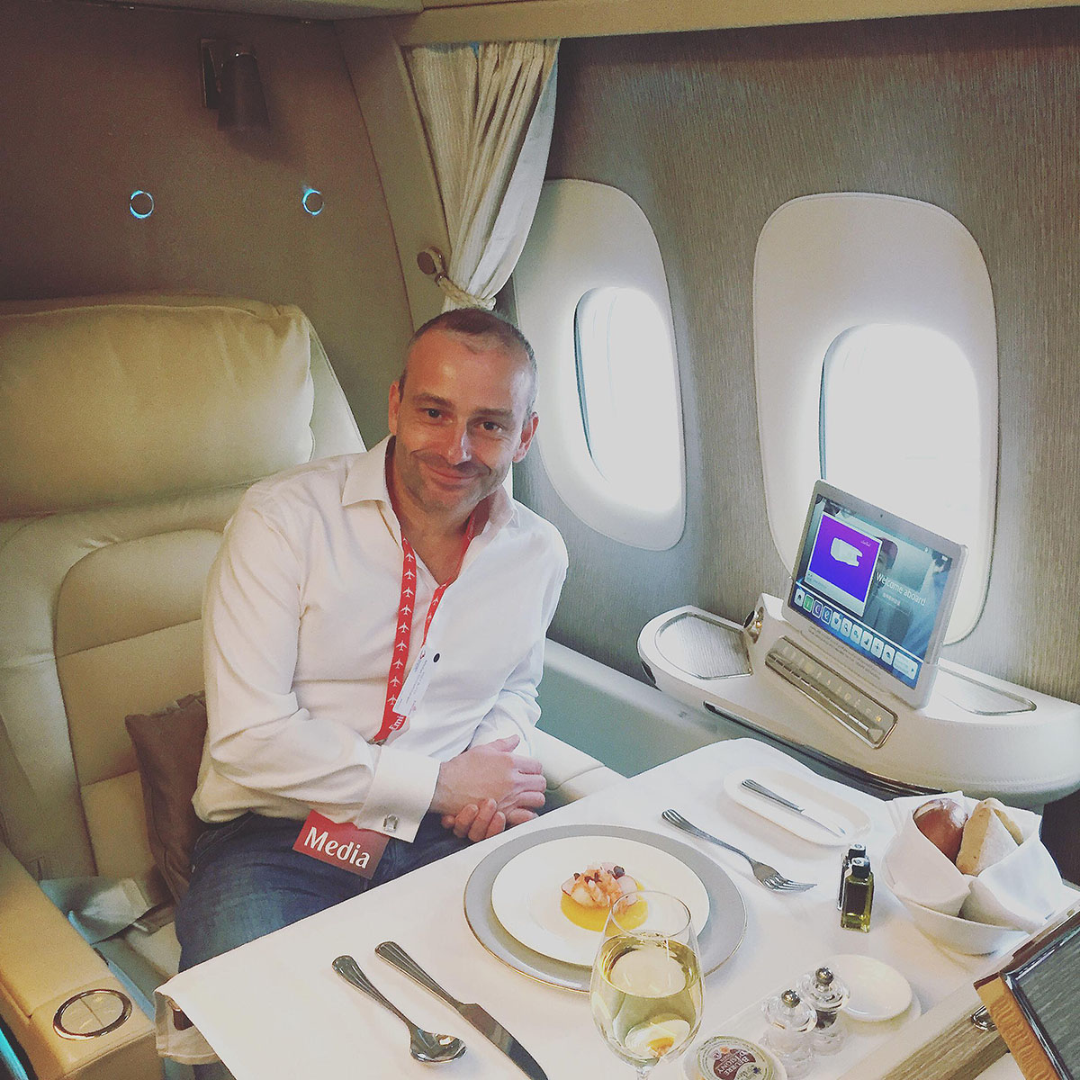 Michel Gronemberger dans la Première Classe d'un Boeing 777-300 d'Emirates